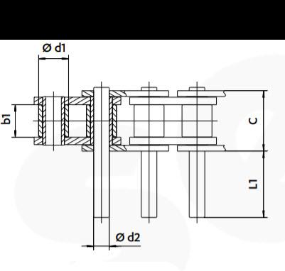 Rollenkette mit überstehenden Bolzen einseitig Zeichnung