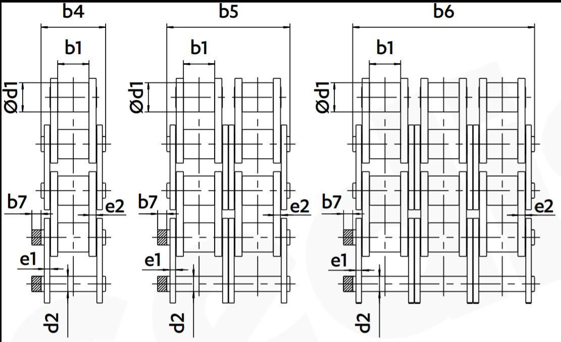 Antriebsketten 1x 2x 3x Zeichnungen