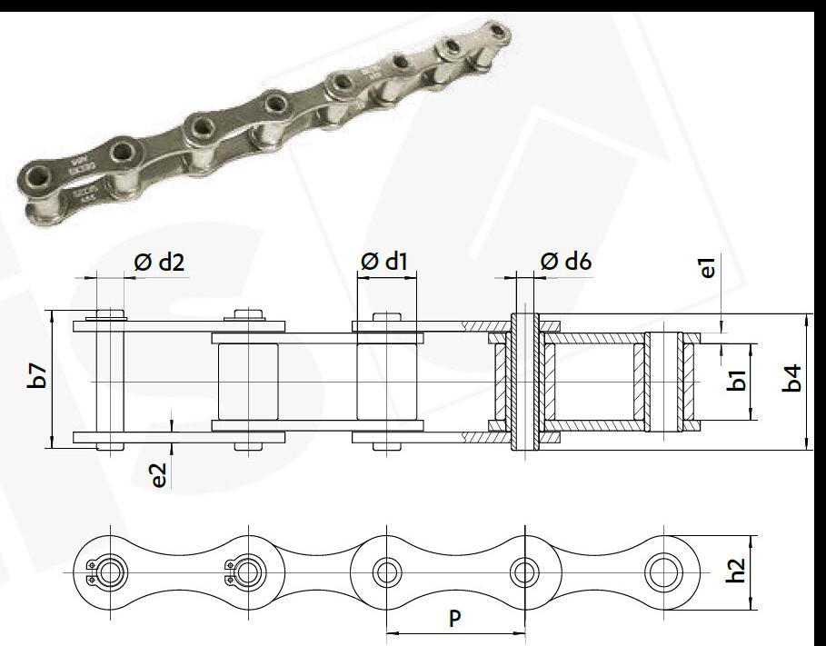 Landmaschinenkette Hohlbolzen Zeichnung