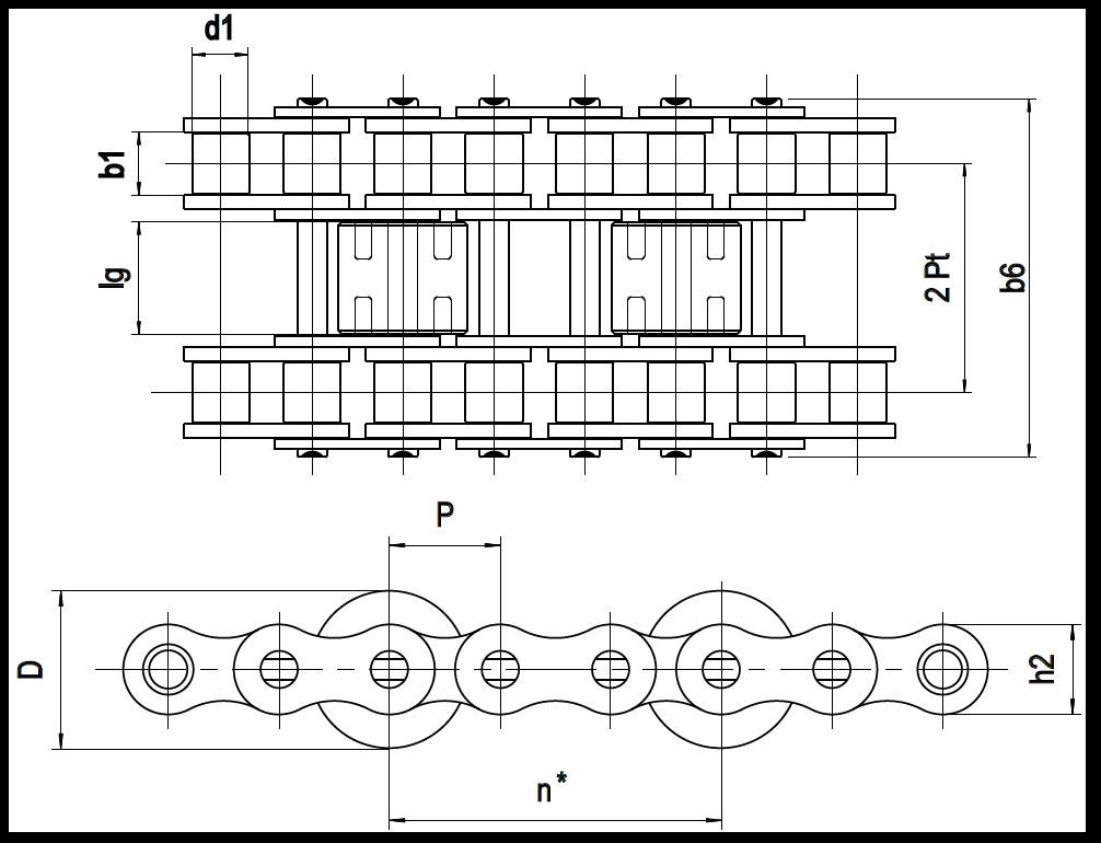 Staurollenkette Zeichnung Typ A