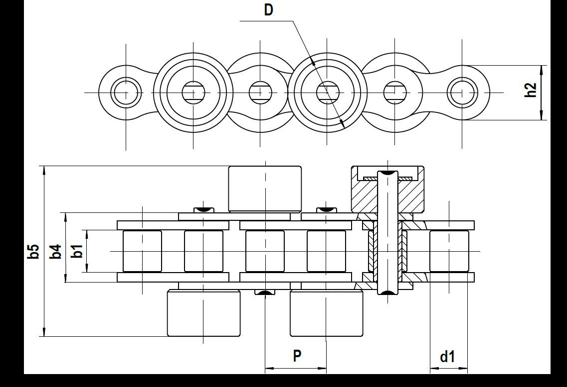 Staurollenkette Zeichnung Typ C