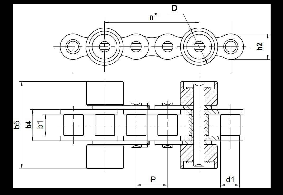 Staurollenkette Zeichnung Typ D