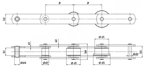 Buchsenförderkette zeichnung