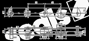 Förderkette mit Traglaschen Zeichnung