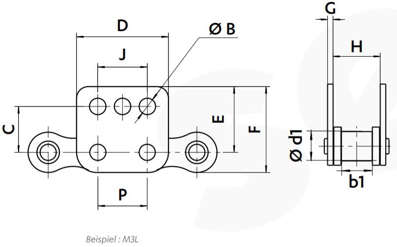 Planlaschen für Rollenkette Zeichnung
