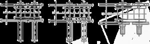 Rollenkette überstehende Bolzen Ausführungen glatter Bolzen/ Bolzen mit Einstich/ Gewindebolzen