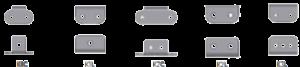 Winkellaschen als Anbauteile für Rollenketten Ausführungen