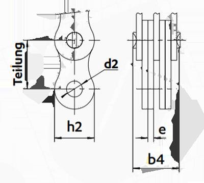Abmessungen Flyerkette Hubkette